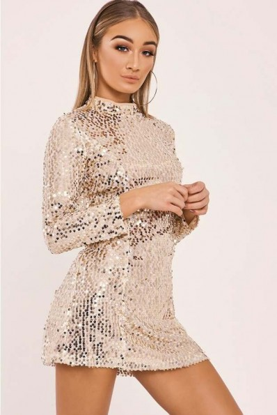 IN THE STYLE SARELLA GOLD LONG SLEEVE SEQUIN MINI DRESS ~ shiny party dresses ~ shimmer ~ sparkle