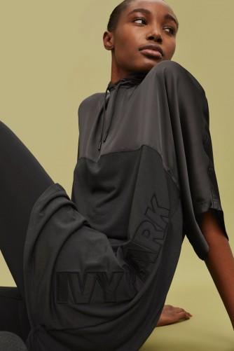 Ivy Park Satin Hooded Tunic – silky black tunics