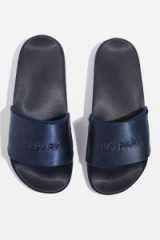 TOPSHOP Satin Logo Sliders by Ivy Park – silky blue slides