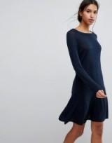 Selected Femme Knit Peplum Dress   fluted hem knitted dresses