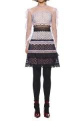 $299.00 Self Portrait Bellis Lace Trim Guipure Lace Dress