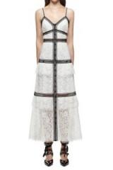 $369.00 Self Portrait Lace Trim Maxi Dress White
