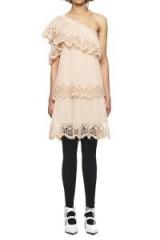 $289.00 Self Portrait Pleated Embroidery Crepe Dress, one-shoulder dress, pink short dress