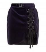 Self-Portrait Velvet Lace Up Skirt | navy asymmetric hemline skirts