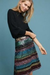 Anthropologie Sequined Soiree Skirt | shiny multicolour A-line skirts