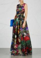 MARY KATRANTZOU Shaw floral-print silk organza gown ~ sleeveless printed gowns ~ bold prints