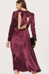 Topshop Shimmer Satin Midi Dress / wine open back party dresses / luxe style fashion