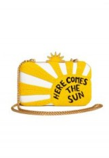 Alice +Olivia X THE BEATLES HERE COMES SUN CLUTCH / yellow beaded slogan bags