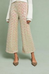 Anthropologie Showstopper Sequined Wide Leg Trousers | shimmering cropped pants