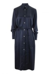 Topshop Silk Shirt Dress ~ slinky blue belted dresses