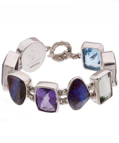STEPHEN DWECK Silver Boulder Opal Multi-Stone Bracelet / multi gemstone bracelets / statement jewellery