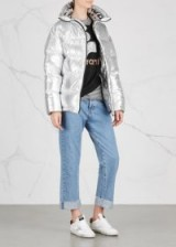 SJYP Silver quilted shell jacket ~ padded metallic jackets ~ winter glamour