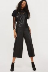Topshop Soft Faux Leather Dungarees   black cropped overalls