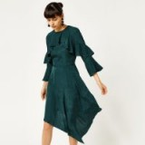 WAREHOUSE SOFT JACQUARD ASYMMETRIC DRESS – green party dresses