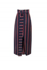 SOLACE Apolline Skirt Navy Red Stripe / striped midi skirts