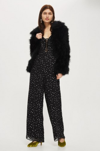 TOPSHOP Star Foil Lace Jumpsuit – black strappy jumpsuits – stars – going out party fashion