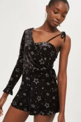 TOPSHOP Star Velvet One Shoulder Playsuit ~ luxe style party playsuits
