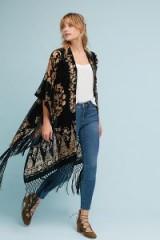 Athropologie Stevie Velvet Kimono | black floral fringe hem kimonos