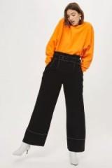 Topshop Stitch Buckle Trousers   black wide leg pants   paperbag waist