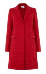 WAREHOUSE STUDDED CROMBIE ~ red winter coats