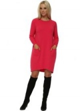 SUGAR BABE Hot Pink Two Pocket Knitted Jumper Dress ~ knitted sweater dresses