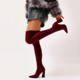 PUBLIC DESIRE SWOON SOCK FIT POINTED TOE OVER THE KNEE BOOTS IN BURGUNDY STRETCH ~ dark red ~ block heel