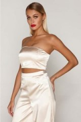 TAMMY HEMBROW GOLD SATIN BANDEAU CROP TOP ~ silky strapless going out tops