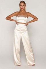 TAMMY HEMBROW GOLD SATIN WIDE LEG TROUSERS ~ slinky going out pants