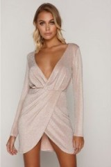 TAMMY HEMBROW NUDE GLITTER WRAP PLUNGE FRONT MINI DRESS ~ plunging party dresses