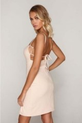 TAMMY HEMBROW NUDE SQUARE NECK THIGH SPLIT DRESS ~ strappy party dresses