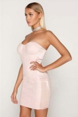 TAMMY HEMBROW PINK SUEDE SATIN SIDE PANEL BANDEAU DRESS ~ strapless bodycon dresses