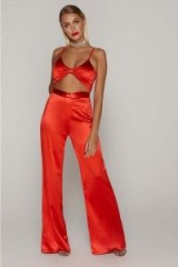 TAMMY HEMBROW RED SATIN KNOT FRONT WIDE LEG TROUSERS ~ slinky going out pants