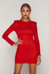 TAMMY HEMBROW RED SUEDE SHOULDER PAD MINI DRESS