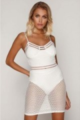 TAMMY HEMBROW WHITE FISHNET MINI DRESS ~ strappy semi sheer party dresses