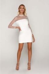 TAMMY HEMBROW WHITE MESH SLEEVE VINYL MINI DRESS ~ semi sheer glossy party dresses