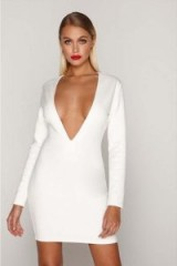 TAMMY HEMBROW WHITE SUEDE PLUNGE MINI DRESS ~ deep V front party dresses