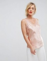 Ted Baker Sparkle Cami Top / rose gold silk camisoles / embellished silky tops