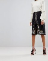 Ted Baker Vicks A-Line Midi Skirt with Floral Embroidery | occasion skirts