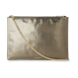 WHISTLES Textured Rivington Clutch / pewter metallic leather / shiny evening bags
