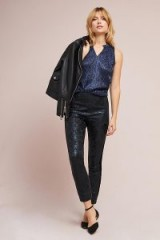 Anthropologie The Essential Foil Printed Tuxedo Trousers   black skinny evening pants