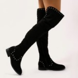 PUBLIC DESIRE THEMIS STUDDED OVER THE KNEE BOOTS IN BLACK FAUX SUEDE ~ stud embellished flat boots