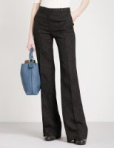 THEORY Demitria wide mid-rise jacquard trousers