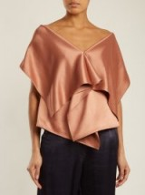 SIES MARJAN Tracy cape-detail satin top ~ metallic-bronze layered evening tops