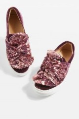 TOPSHOP TWISTED Sequin Trainers – pink sparky sneakers