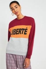 Urban Outfitters Liberte Panel Sweatshirt / slogan sweatshirts