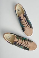 Vanessa Wu Metallic Camo Sneakers | sports luxe trainers