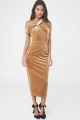 Lavish Alice Velvet Asymmetric Midi Dress in Gold ~ luxe style party dresses