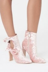 Lavish Alice Velvet Cut Out Double Tie Ankle Boot ~ pink luxe boots