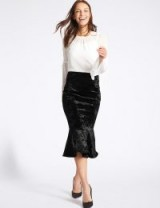 M&S COLLECTION Velvet Fishtail Midi Skirt / black fluted hem skirts / Marks and Spencer evening fashion