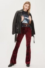 Topshop Velvet Flared Trousers   wine-red flares